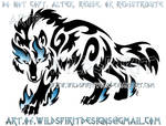 Blue Flame Prowling Tribal Wolf Design
