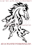 Horse + Three Wolf Pack Tribal Design