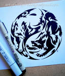 Courage + Fear Yin Yang Wolves - Tribal Design