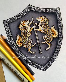 Celtic Wolves Of Light - Heraldic Shield Design