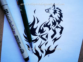 Flame Fox Tribal Design by WildSpiritWolf
