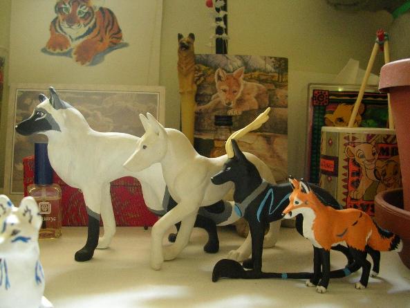 Four Sculpture Comparison by WildSpiritWolf
