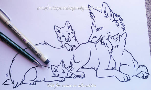 Fox Family - Mother + Kits - Lineart Commission