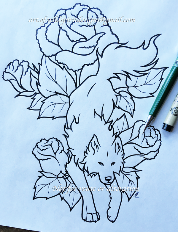 Ember Roses + Wolf - Lineart Design by WildSpiritWolf
