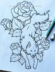 Ember Roses + Wolf - Lineart Design