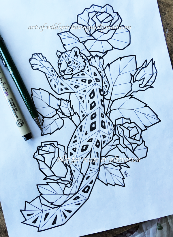 Ice Roses + Snow Leopard - Lineart Design by WildSpiritWolf