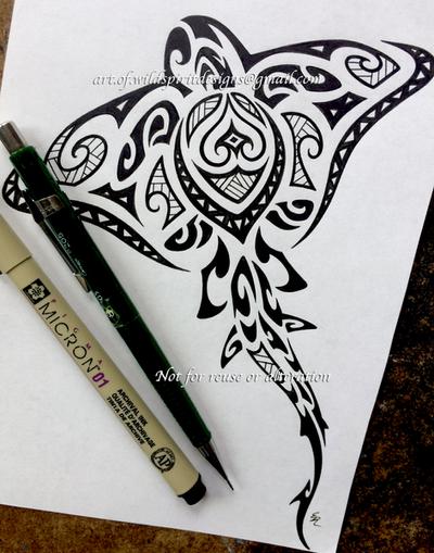Bat Ray + Sea Turtle And Shark - Tribal Design by WildSpiritWolf