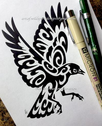 Red-Winged Blackbird - Tribal Design by WildSpiritWolf