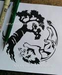 Lion + Baobab Tree - Tribal Yin Yang Design