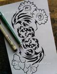 Infinity Phoenixes + Flowers - Tribal Design