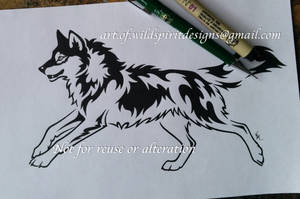 Running Alpha Wolf - Tribal Design by WildSpiritWolf