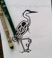 Knotwork Heron + Letter L Design by WildSpiritWolf