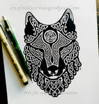 Celtic Wolf's Head - Knotwork Design