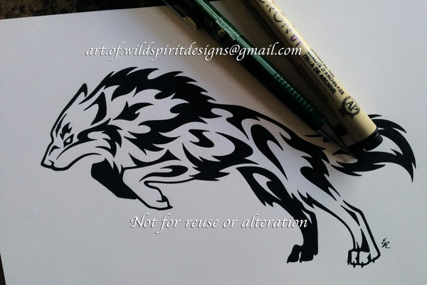 Brave Determined Wolf - Tribal Design by WildSpiritWolf