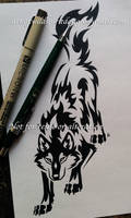 Downward Stalking Wolf - Tribal Design