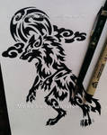 Werewolf + Full Moon And Clouds - Tribal Design