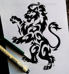 Regal Rampant Lion - Tribal Design