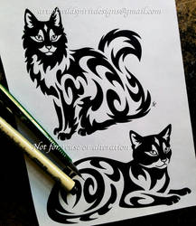 Long Hair + Short Hair Cats - Tribal Designs by WildSpiritWolf