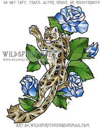 Ice Roses + Snow Leopard - Color Design by WildSpiritWolf