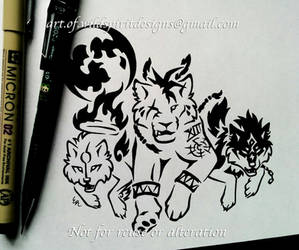 Red XIII + Amaterasu + Wolf Link - Tribal Design by WildSpiritWolf