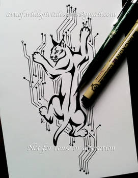 Climbing Caracal On Circuit Board - Tribal Design