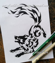 Norse Wolf Geri - Fire Tribal Design by WildSpiritWolf