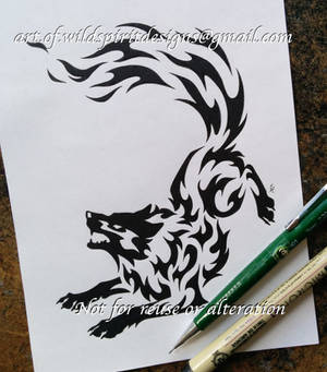 Norse Wolf Geri - Fire Tribal Design