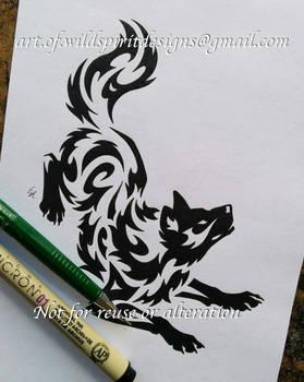 Norse Wolf Freki - Water Tribal Design by WildSpiritWolf