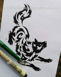 Norse Wolf Freki - Water Tribal Design