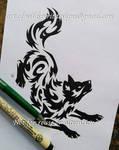 Norse Wolf Freki - Water Tribal Design