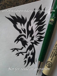Norse Raven Huginn - Fire Tribal Design by WildSpiritWolf