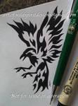 Norse Raven Huginn - Fire Tribal Design