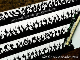 Armbands - Fire + Water Tribal Designs by WildSpiritWolf