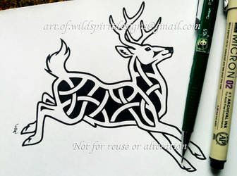 Leaping Stag - Knotwork Design by WildSpiritWolf