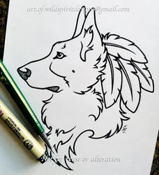 German Shepherd Character - Lineart Commission by WildSpiritWolf