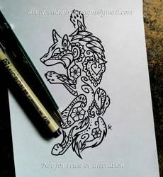 2b0b5a370 Climbing Wolf - Floral Henna Design by WildSpiritWolf