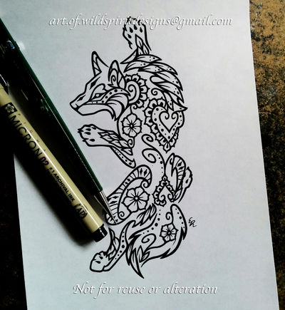 Climbing Wolf - Floral Henna Design by WildSpiritWolf