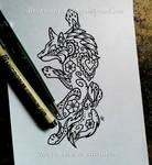 Climbing Wolf - Floral Henna Design
