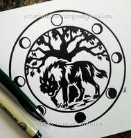 Wolf + Lunar Phases - Circular Tribal Design