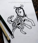 Flying Husky - Knotwork Memorial Design