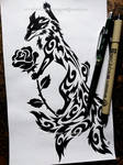 Three-Tailed Fox + Rose - Tribal Design