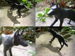 Black Wolf Sculpture