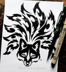 Nine-Tailed Fox Face - Tribal Design