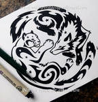 Snow Leopard + Wolf - Starry Tribal Design