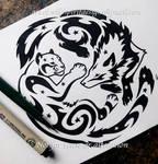 Snow Leopard + Wolf - Starry Tribal Design