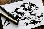 Sprinting Flame Wolf - Tribal Design