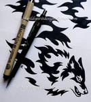 Horizontal Flame Wolf - Tribal Design