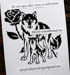 Mother Wolf + Pup With Rose - Tribal Design