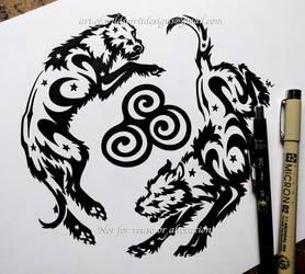 Newgrange Spiral Irish Wolfhounds - Tribal Design