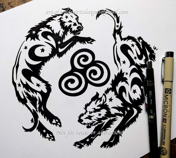 Newgrange Spiral Irish Wolfhounds - Tribal Design